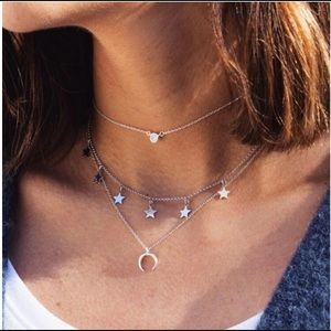 Silver Brandy Melville Star Horn Choker necklace